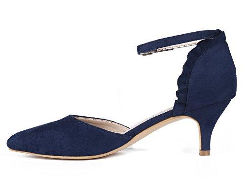 Ankle D'orsay Shoes Pumps Women Dress Maxmuxun Blue Strap SxqTcp