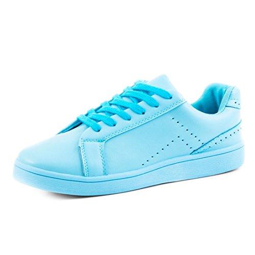 Marimo Super Trendige Vollfarbige Color Damen Schnür Sneaker in Verschiedenen Farben Hellblau