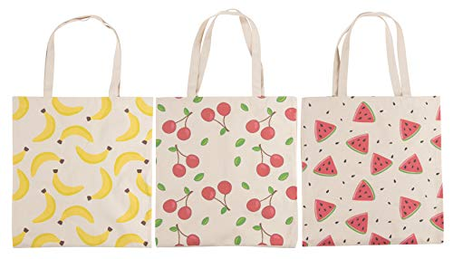 Reusable Grocery Bags - 3-Pack Tote Bags with Handles, 3 Different Fruit Designs, Durable Cotton Canvas Shopping Bags, 14.2 x 16.1 Inches ()
