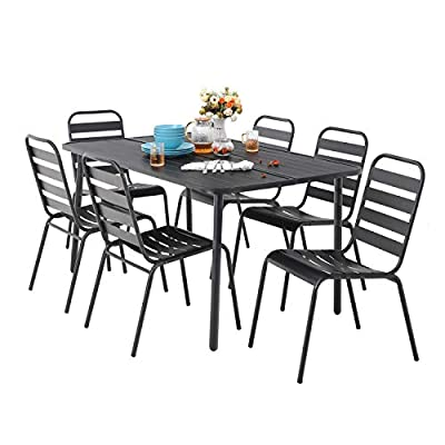 "MF 7 Piece Patio Table and Chairs Metal Outdoor Patio Dining Table Sets with 59"" x 35"" Rectangle Table and 6 Backyard Garden Dining Chairs, Black - Table Size: 59""L x 35""W x 28""H; Slat Chair size: 25.2""D x 22.8""W x 35""H , seat height: 18"", Weight capacity: 300LBS. Outdoor dining table set including 1 black metal rectangle bistro table & 4 backyard chairs. Spacious chair and table comfortable for six or more person family dinner and party. Sturdy wrought iron frame longevity with e-coating needs no special maintenance, rust and weather resistant, bring you years of enjoyment on patio, balcony, or other outdoor area. - patio-furniture, dining-sets-patio-funiture, patio - 41HAAYmiqPL. SS400  -"