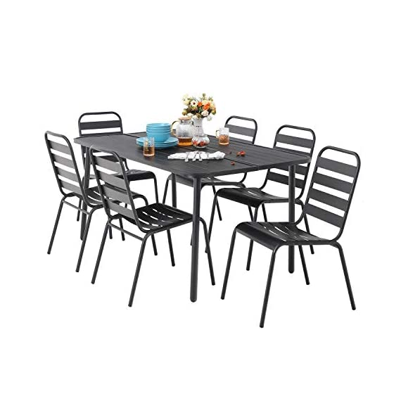 "MF 7 Piece Patio Table and Chairs Metal Outdoor Patio Dining Table Sets with 59"" x 35"" Rectangle Table and 6 Backyard Garden Dining Chairs, Black - Table Size: 59""L x 35""W x 28""H; Slat Chair size: 25.2""D x 22.8""W x 35""H , seat height: 18"", Weight capacity: 300LBS. Outdoor dining table set including 1 black metal rectangle bistro table & 4 backyard chairs. Spacious chair and table comfortable for six or more person family dinner and party. Sturdy wrought iron frame longevity with e-coating needs no special maintenance, rust and weather resistant, bring you years of enjoyment on patio, balcony, or other outdoor area. - patio-furniture, dining-sets-patio-funiture, patio - 41HAAYmiqPL. SS570  -"