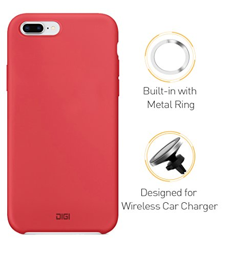 Built-in Metal Ring Case for iPhone 8 Plus, Digi Liquid Silicone Gel Rubber Full Body Shockproof Drop Protection with Built-in Invisible Metal Ring Compatible with QI Magnetic Wireless Car Charger