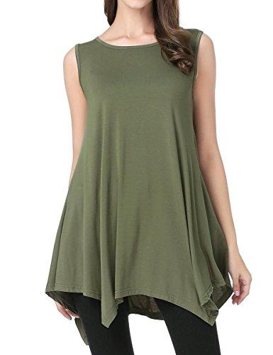 JollieLovin Womens Plus Size Loose-fit Sleeveless T-Shirt Tank Tunic Top(M, Army Green)