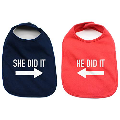 (He Did It She Did It Arrow Twin Set Unisex Newborn Baby 100% Cotton Bibs (Navy & Red - He/She Did)