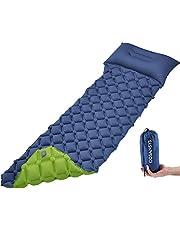 COSANSYS Ultraleichte Isomatte Camping Erwachsener Aufblasbare Luftmatratze Wasserdicht klein Kompakt Faltbar Doppelseitig Schlafmatte mit Kopfkissen für Outdoor,Innen(blau+Grün)