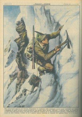 Compagnia di alpini in pieno assetto di guerra scala vetta alta 4478 metri, nonostante gravi difficolta' tecniche.