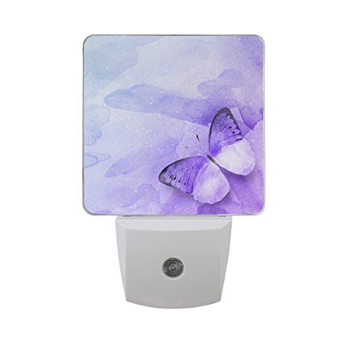 Naanle Set of 2 Watercolor Purple Butterfly On Art Abstract Universe Filled with Stars Background Auto Sensor LED Dusk to Dawn Night Light Plug in Indoor for Adults