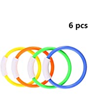 Toyvian 6pcs Diving Rings Swimming Sinking Pool Toy Rings for Kids Children Random Color