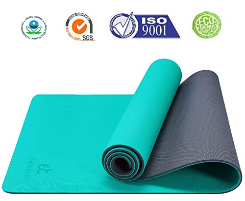 Ewedoos Non Slip Yoga Mat Pro Series, Upgraded Textured Surface for Ultra Grip, Eco Friendly Exercise & Fitness Mat for Yoga, Pilates and Workout, Carry Strap Included, 1/4