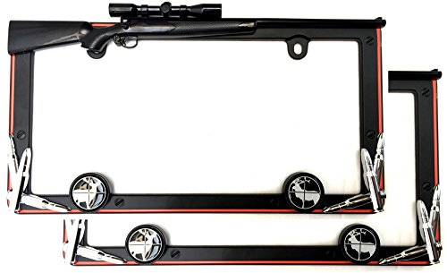 Cruiser Accessories 19656 Matte Black/Orange Hunting License Plate Frame with Fastener Caps