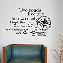 Two Roads Diverged Less Traveled Wall Decal Robert Frost Quote Compass Rose Decal Home Decor (Black,m)