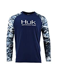 Huk Men's Double Header Vented Long Sleeve Shirt, Navy, Large