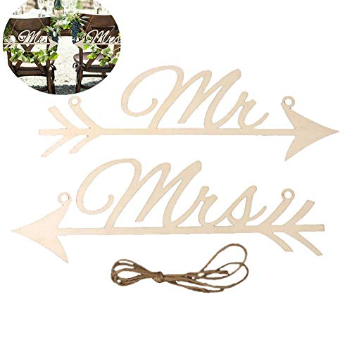 Studyset Hanging Wood Arrow Plaque, 1 Pair MR MRS Shape Arrows Signs for Wedding Party Chair Decoration Photography Prop