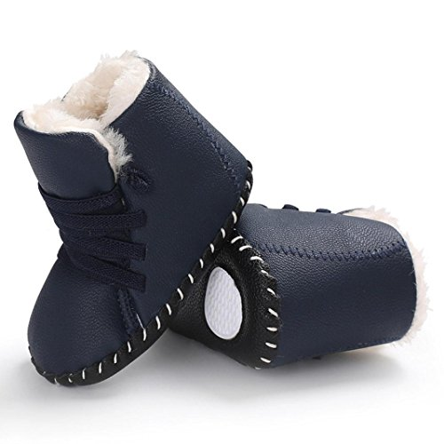 Huhu833 Kinder Mode Baby Stiefel Soft Sole, Warm Schnee Weiche Sohle Schneeschuhe Krippe Kleinkind Stiefel (0-18 Month) Dunkel Blau