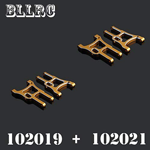 4pcs RC car HSP 102019 + 102021 Aluminum Aolly Metal Rear Lower and Back Suspension Arm 02007 02008 1 10 Upgrade Parts 94123   Yellow