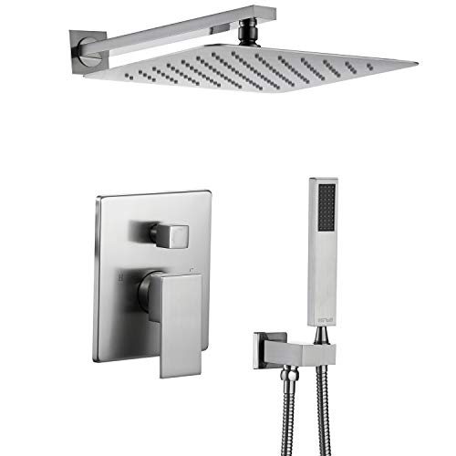 - Esnbia Shower System, Brushed Nickel Shower Faucet Set with Valve and 12