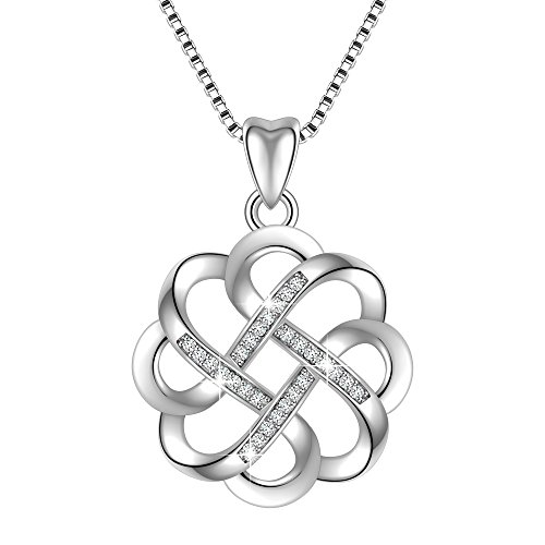 Sterling Silver Knot Clasp (925 Sterling Silver GOOD LUCK Knot Vintage Pendant Necklace, Box Chain 18