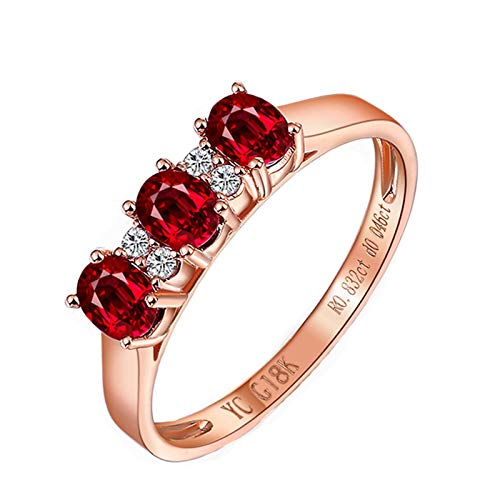 KnSam Ring for Women Fashion Fine Ruby0.5ct Red Diamond, Rose Gold 18 Carats Wedding Rings for Women Ruby Red Size 4