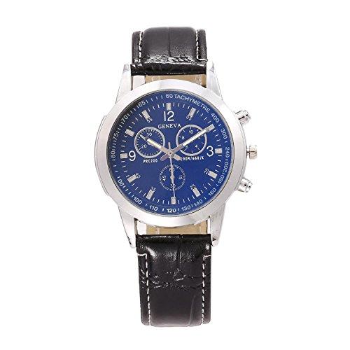 Opino New Men Fashion Synthetic Leather Band Crystal Analog Quartz Wrist Watch Bracelet Bangle by Opino