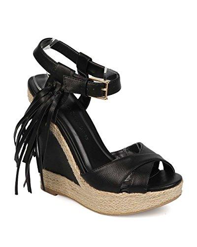 en's Madison Leatherette Peep Toe Tassel Espadrille Wedge Shoe Sandal (7.5, Black) (Leatherette Lounge)