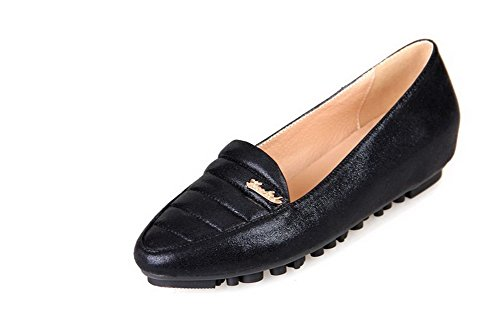 Vouge001 Womans Closed Toe Pointed Toe Low Heels Patent Leather Solid Pumps with Plaid Pattern Black 4KINepkyF6