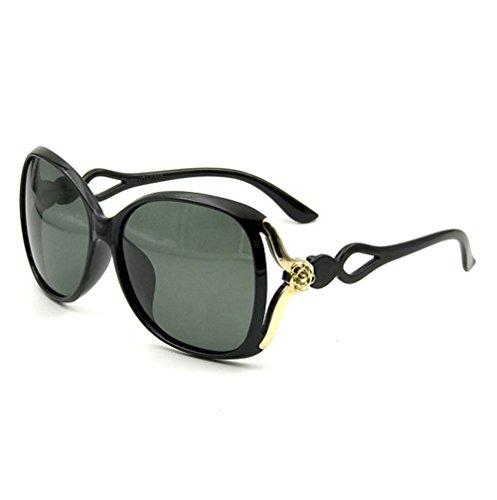 Abierto Black Sol Gafas Polarizador Grande Black De A Marco De Gafas Dama Retro Sol Cielo Tallado EZUqac