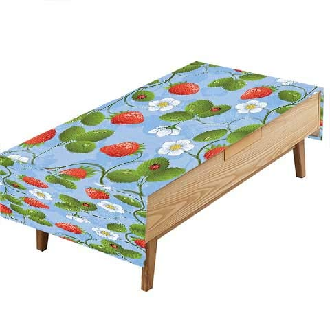 - PINAFORE Spillproof Fabric Tablecloth Strawberries Daisies Ladybugs Looks Like Ivy Plant Spotted Insects Image Blue Green Garden Kitchen Picnic Living Room Hotel Cafe W54 x L72 INCH