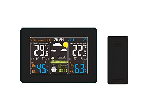 Atomic Wireless Weather Station with Indoor / Outdoor Wireless Sensor – TG645 Color Display Weather Station Alarm Clock With Temperature Alerts, Forecasting by Think Gizmos. Photo #2