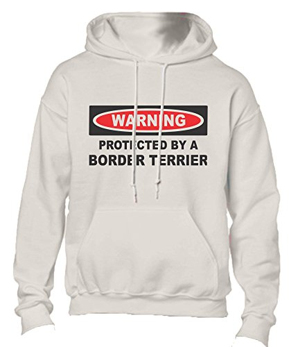 T-ShirtFrenzy Protected By A Border Terrier Adult Hoodie Hooded Sweatshirt White Large -