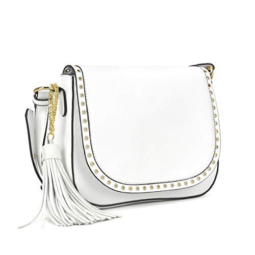 Tassel Grommets Crossbody Bags for Women Designer Shoulder Purses Vegan Leather Messenger Bag (7368 White)