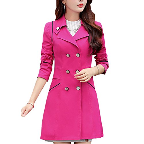 Price comparison product image Women Double Breasted Lapel Slim Fit Thin Trench Coat Jacket Outwear (US XS/ Asian Tag L, Rose Red)