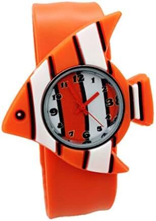 Cartoon Clownfish Unisex Kids Watch Water-resistant Sports Watch Bendable Rubber Strap Wrist Watch