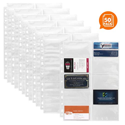 Business Card Sleeves for 3 Ring Binder - Pack of 50 - Business Card Sleeve Holds 10 Per Side and 20 Per Page - Compatible with 3 Ring Business Card Binder Organizer Systems and Albums