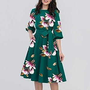 A-Line Casual Dress, Women's Summer Fashion Vintage Half Lantern Sleeve Knee-Length Elegant O-Neck Half Sleeve Pocket…