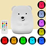 Baby Night Light, LED Night Lights for Kids, Remote Control and Tap Control Night Light with Soft Silicone, Cute Bear Rechargeable 9-Color Night Light, Children's Gift, Valentine, Bed Room