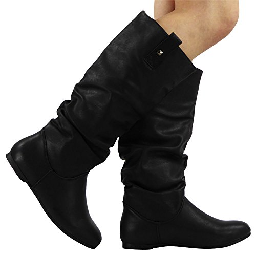 PIXIE ON 3 8 MID Black KNEE PULL CALF LADIES FLAT SIZE SLOUCH ROUCHED LONG BOOTS WOMENS qSBn1wdq