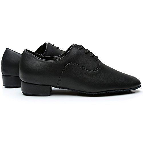 Latin Black Oasap Dance Men's Shoes up Toe Leather Lace Pointed 6wHYBwqf