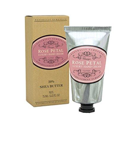 Naturally European ROSE PETAL Luxury Hand Cream Boxed 20% Shea Butter 75ml