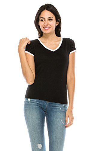 The Classic Junior Women Slim Fit V-Neck Summer Basic Lightweight Comfy Ringer tee t Shirt (Medium, -