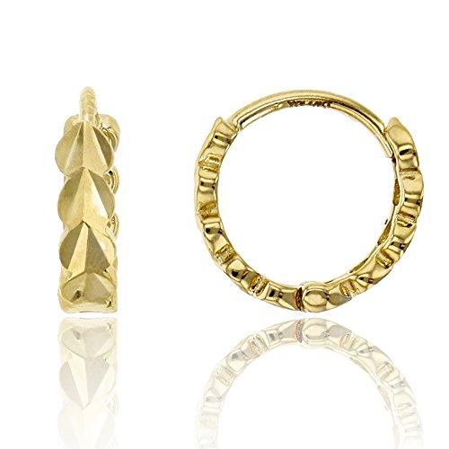 14K Yellow Gold Diamond Cut Heart 2.50x10.00mm Huggie Earring ()