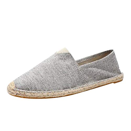 ASOBIMONO Unisex Flat Espadrille Sneakers Canvas Casual Classic Slip-On Comfortable Loafers Shoes Gray (Post Beige Gray 36')