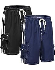 Akula Men's Swim Trunks Quick Dry Beach Board Shorts with Pockets