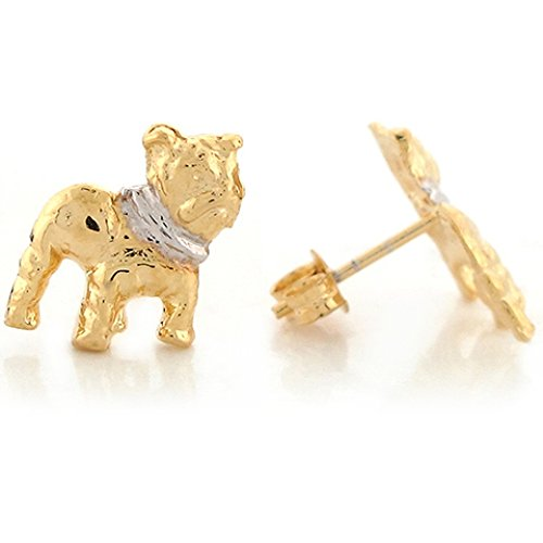 14k Two Tone Real Gold Animal Dog Bulldog Lovers Cute 1.2cm Post Earrings