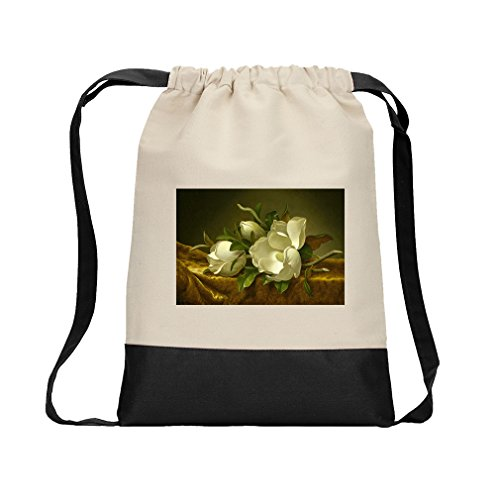 Magnolias Gold Cloth (Mj Heade) Canvas Backpack Color Drawstring Bag - Black ()