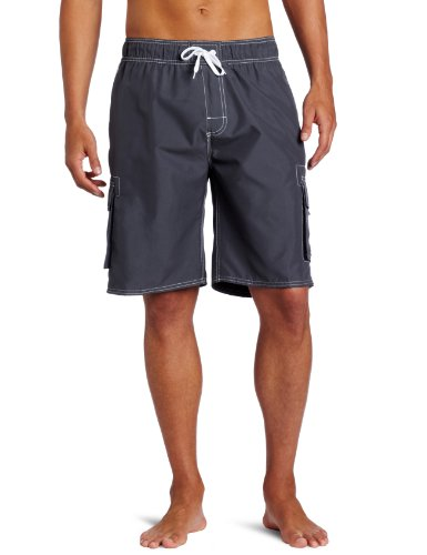 Kanu Surf Men's Barracuda Swim Trunks (Regular & Extended Sizes), Charcoal, Medium (Blue Stripe High Chairs)
