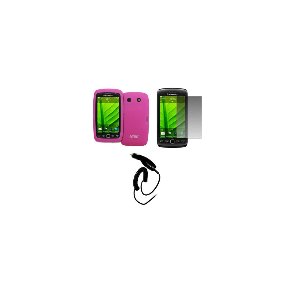EMPIRE Hot Pink Silicone Skin Case Cover + Screen Protector + Car Charger (CLA) for BlackBerry Torch 9860