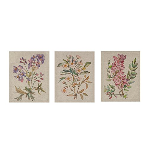 Madison Park Linen Botanicals Floral Canvas Wall Art 14X11 3 Piece Multi Panel, Transitional Wall Décor
