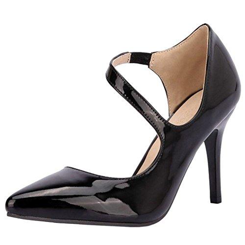 RAZAMAZA Femmes Elegant Bout Pointu Aiguille Escarpins Croise Taille Grande Black