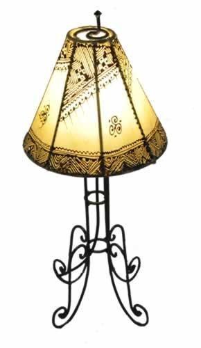 Lámpara de mesa marroquí de henna redonda color crema 60 cm ...