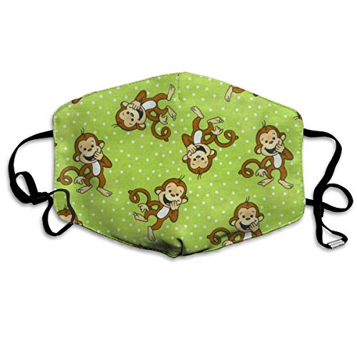 QIZI Kids Green Clever Monkey Dust Mask, Antibacteria Comfortable Activated Carbon Filter Insert Washable Polyester Mouth Mask with Adjustable Straps -